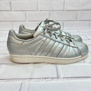 Adidas Superstar silver sneaker shoes sheltoe